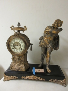 NEW HAVEN GLADIATOR CAST IRON MANTLE CLOCK