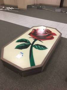 "Herberger Rose Sign 81"" x 49"" x 9.5"" 110 Volt and Fully Functional"