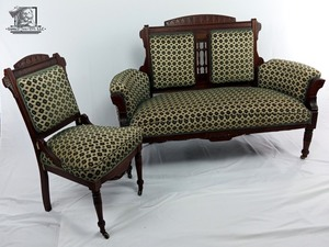 Antique 1890's Settee & 1 Chair Upholstery Carved Wood Wheel Victorian Ornate Parlor (Valued at $1,450)