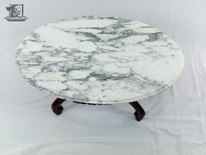 Antique Victorian Marble & Wood Coffee Table (Valued at $250)