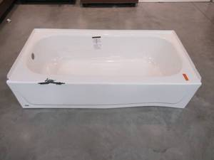 Bootz Industries Aloha 60 in. Left Drain Rectangular Alcove Soaking Bathtub in White 011-4365-00