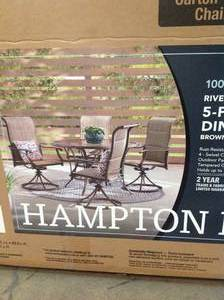 SET OF 4 HAMPTON BAY RIVERBROOK PATIO CHAIRS (CHAIRS ONLY) NOT USED