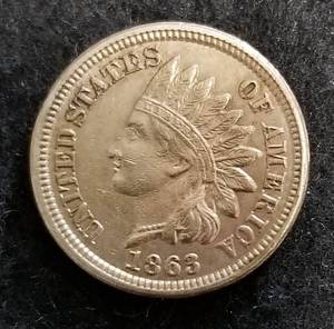 1863 INDIAN HEAD CENT AU OR BETTER