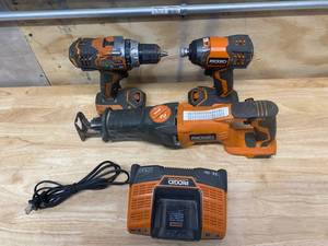 RIGID Lot of 3 battery powered tools.  Screw gun, Sawzall, and Impact Driver (see photos for model numbers)