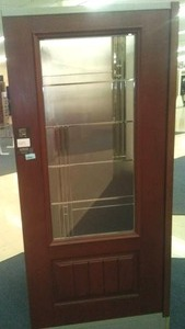 Bayer 36 in. Prefinished Exterior Standard Door with Glass insert.