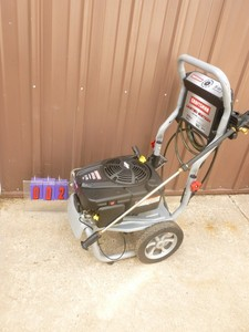 Craftsman 2700 psi gas pressure washer with hose & wand. Engine runs. Not able to fully test. As shown.