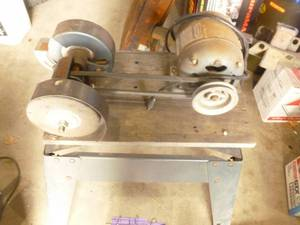 Grinder on stand. 1/2 hp Craftsman motor. 2 head arbor. Tested & works. As shown.