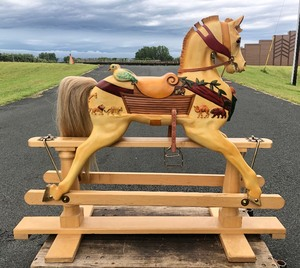 Exceptional Artisan Made STEVENSON BROTHERS Carved Wood Large Carousel Rocking Horse - Noah's Ark Theme