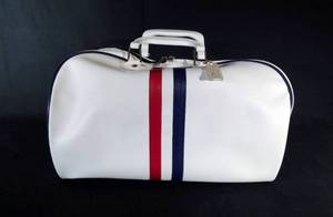 Vintage White Naugahyde Travel Bag with Navy Blue Zipper - New