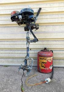 Vintage 1934 Johnson Model J-1 Rope Start Outboard Motor and Gas Can