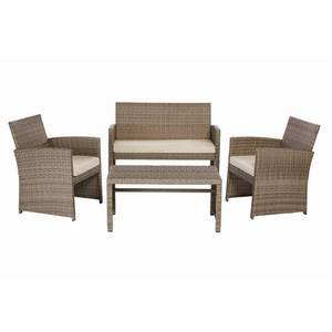Park Trail Grey 4-Piece Wicker Patio Conversation Set with Light Brown Cushions by Hampton Bay in good conditions
