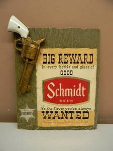 "VERY! VERY! RARE! VINTAGE SCHMIDT BEER (BIG REWARD, WANTED) ADVERTISING SIGN! - RARE!!!!! - APPROX 12"" BY 16"" - SEE PICTURES!"