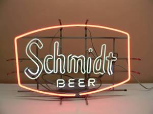 "VINTAGE SCHMIDT BEER NEON LIGHT! - AWESOME OLD SCHOOL PIECE! - WORKS! - APPROX 29"" BY 19"" - SEE PICTURES!"