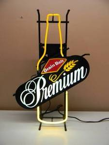 "VINTAGE GRAIN BELT PREMIUM BOTTLE BEER NEON LIGHT - GREAT PIECE! - WORKS! - APPROX 19"" BY 26"" - SEE PICTURES!"