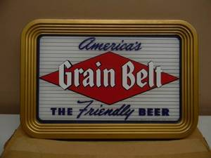 "VINTAGE 1950s NEW OLD STOCK / STILL IN THE BOX! GRAIN BELT BEER SIGN! - AWESOME PIECE! - NEVER SEEN ONE THIS NICE! - METAL FRAME AND BACK! - APPROX 16"" BY 11"" - SEE PICTURES!!!!!"