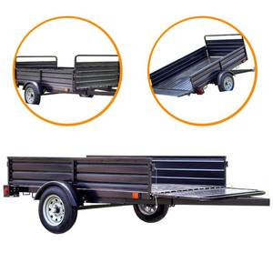 Detail K2 1639 lb. Payload Capacity 4.5 ft. x 7.5 ft. Utility Trailer with Bed Tilt and Collapsing Ends to Extend Bed to 12 ft., MMT5X7 - Package Looks to have been opened. May be missing parts have scratches or dents.