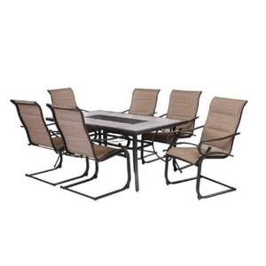 Hampton Bay Crestridge 7-Piece Steel Padded Sling Outdoor Patio Dining Set in Putty Taupe, FCS60610R-ST