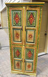 Gorgeous Carved and Painted Cabinet