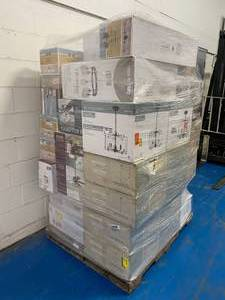 Pallet of High-End Lighting Fixtures by Hampton Bay, Home Decorators Collection, Cordelia Lighting, Monteaux, and others