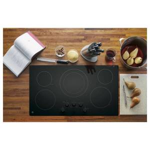 GE 36 in. Electric Cooktop Built-in Knob Control in Black with 5 Elements JP3036DLBB
