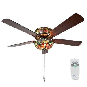 Halston 52 in. Indoor Red Stained Glass Ceiling Fan by River of Goods