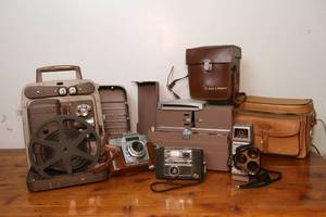 Lot of vintage cameras, 8 mm projector and Airequipt slide projector