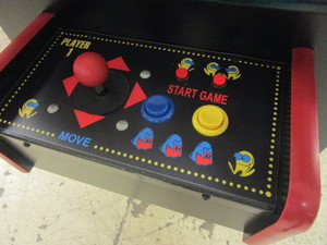 PAC-MAN ARCADE GAME TABLE, WITH 60 OTHER CLASSIC 80's GAMES, GALAGA, CENTIPEDE. DONKEY KONG, MORE