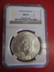 NGC Certified 1974-S (San Francisco Mint) Mint State 67 Silver Eisenhower Dollar – NGC Certification Number 2661042-005