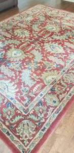 100% Wool Tufted Arts & Crafts Red Area Rug * 7.10 x 9.10