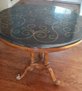 Gorgeous Brass Inlaid Granite Parlour Table