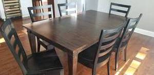 Ethan Allen Harvest Table + 2 Leaves with 6 Chairs