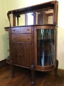 Antique Buffet Cabinet w/Curved Glass