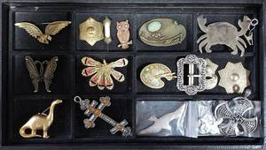 Collection Of Brooches, Charms, Buckle, More