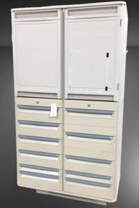 MSRP $10,000 STARSYS Double-Wide Two-Bay Medical Supply Cabinet Stand Alone STORAGE LOCKER + 11 DRAWER (40lb Capacity Each)  W/LATEX FREE ANTI MICROBIAL PROTECTION -Great Condition!