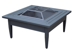HAMPTON BAY Riley 38 in. Square Steel Wood Burning Fire Pit Table