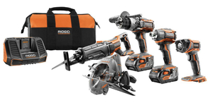 RIGID 18-Volt Lithium-Ion Cordless 5-Tool Combo Kit with (2) 4.0 Ah Batteries, 18-Volt Charger, and Contractor's Bag