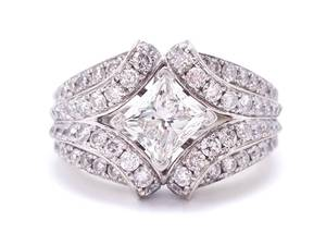 2+ Carat Diamond Estate Ring in 14k White Gold; IGI Certified $16,500