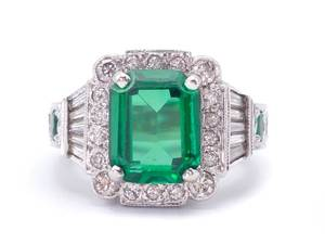 Green Tourmaline, Emerald, and Diamond Jeff Cooper / Naomi Designer Estate Ring in 14k White Gold; $10,000 Appraisal Included