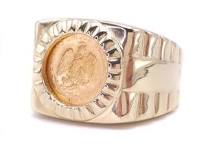 Men's Large 24.56 Gram Gold Coin Rolex Style Estate Ring in 14k Yellow Gold; $4100 Appraisal Includec