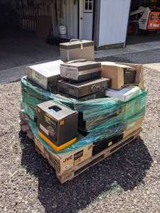 Pallet of Extron Units, Audio Amps, Speakers, and More