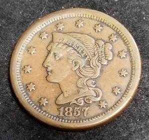 1857 US BRAIDED HAIR LARGE CENT
