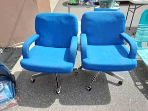 2-Retro Blue Office Arm Chairs