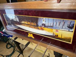 Framed Original Minnesota Gophers Mariucci Arena with ghost picture of John Mayasich inserted into photo