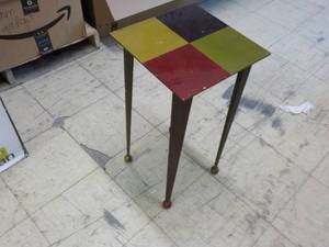 "12"" sq. Metal Table 23"" tall..."
