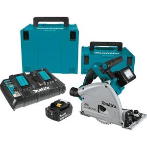 Makita 18-Volt X2 LXT Lithium-Ion (36-Volt) Brushless Cordless 6-1/2 in. Plunge Circular Saw w/ (2) Batteries 5.0Ah, 55T Blade in good conditions