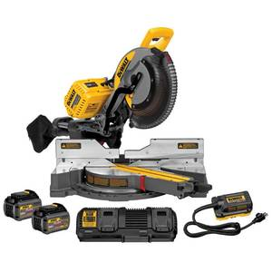 DEWALT FLEXVOLT 120-Volt MAX Lithium-Ion Cordless Brushless 12 in. Sliding Miter Saw w/ AC Adapter, (2) Batteries 2Ah & Charger not used