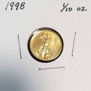 1998 US $5 GOLD EAGLE 1/10th OZ GOLD