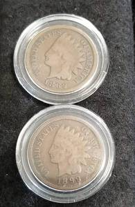 GROUP OF 7 PRE 1900 INDIAN HEAD CENTS IN AIRTITES
