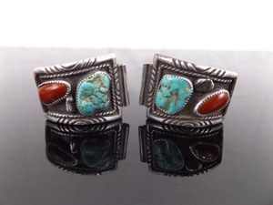 .925 Sterling Silver Mens Navajo Turquoise and Coral Watch Band Wings
