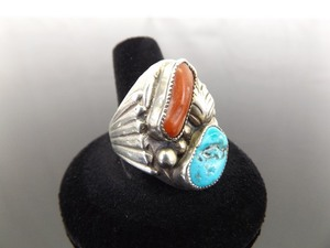 .925 Sterling Silver Navajo Turquoise and Red Coral Ring Size 12